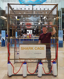 In a shopping mall shark cage!