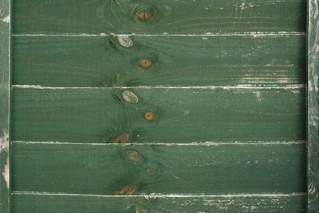Green painted old wooden fence texture