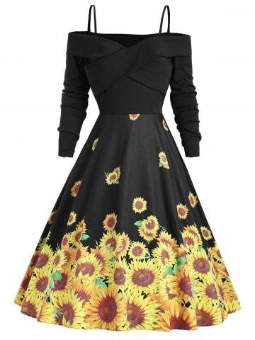 https://www.dresslily.com/sunflower-cold-shoulder-flare-vintage-product7922149.html