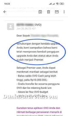 Email pemberitahuan OVO Premier aktif