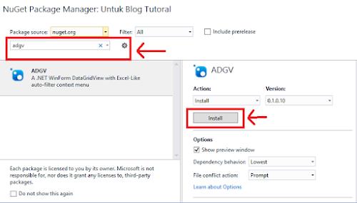 Install ADGV via Nudget