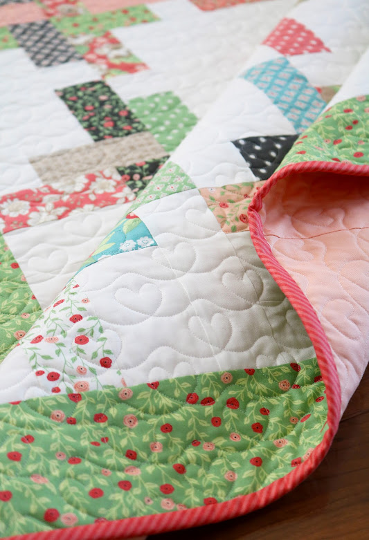 Hello Washi baby quilt pattern by Andy of A Bright Corner - perfect for using a charm pack or jelly roll strips