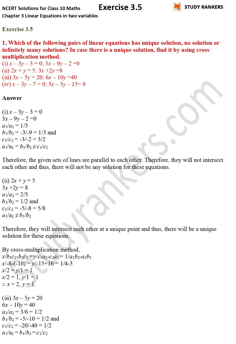 NCERT Solutions for Class 10 Maths Chapter 3 Pair of Linear Equations in Two Variables Exercise 3.5 Part 1