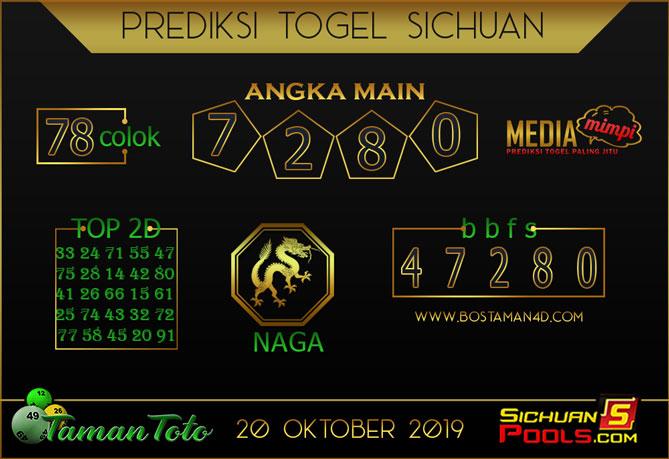 Prediksi Togel SICHUAN TAMAN TOTO 20 OKTOBER 2019
