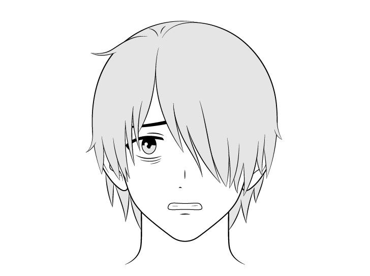 Pria penyendiri anime menggambar wajah takut