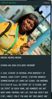 TRAGEDY- FATIMAH A NOUN STUDENT IS MISSING