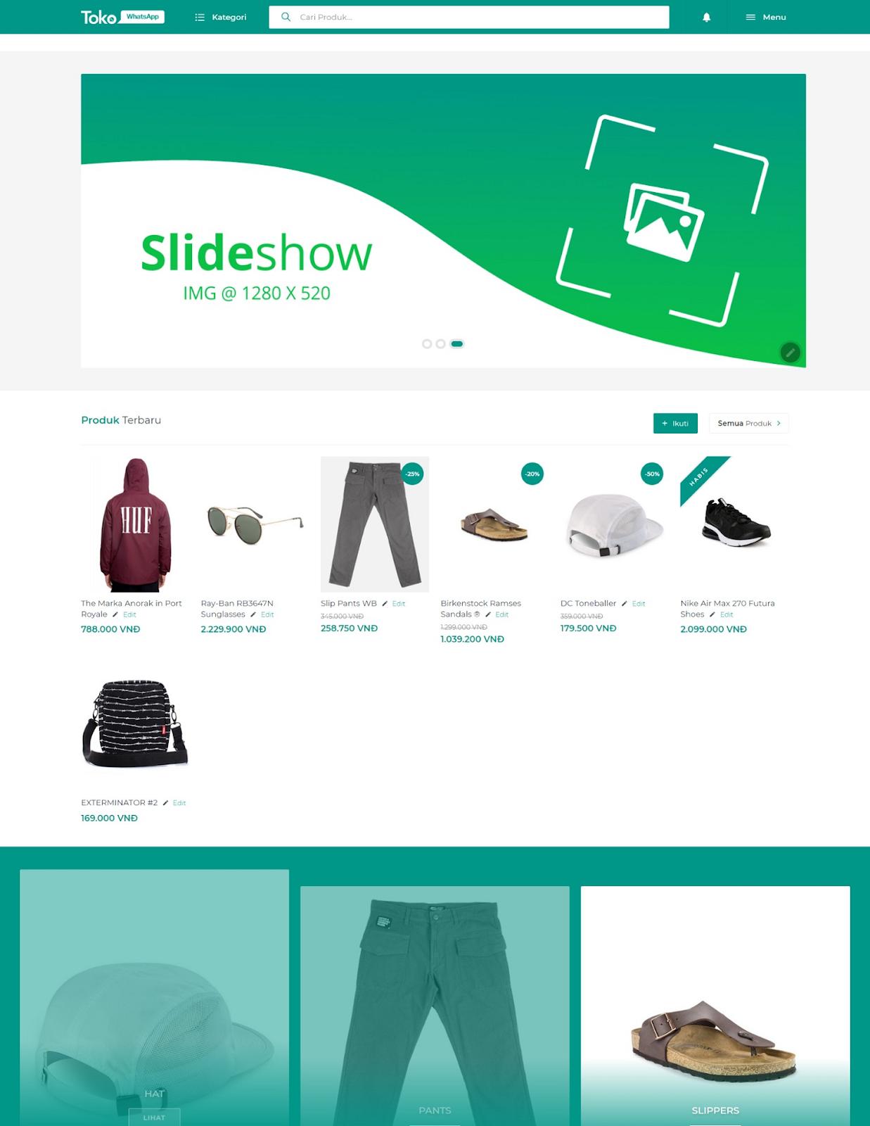 Free TokoWhatsApp Shopping Template - Giao diện bán hàng miễn phí chất lượng cao