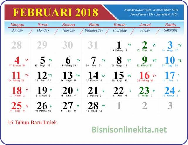 kalender februari 2018