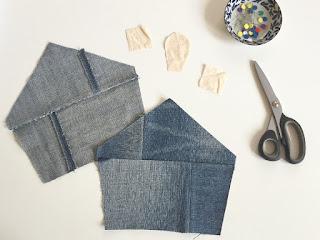 ritaglia casetta con vecchi jeans