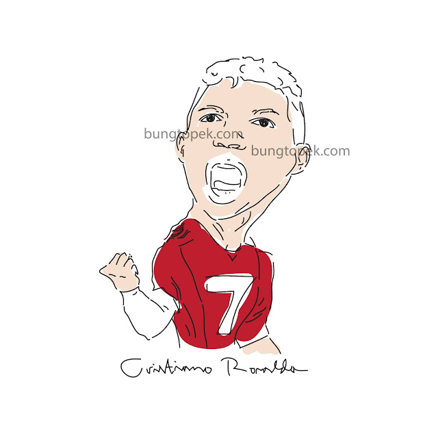 Cristiano Ronaldo in Caricature Sketch