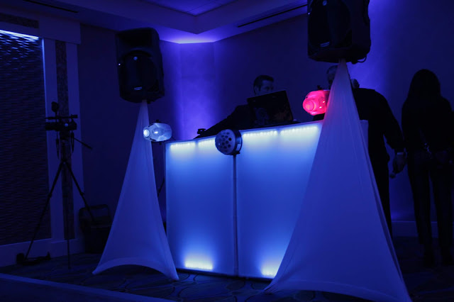 dj, uplighting, blue lighting, wedding decor