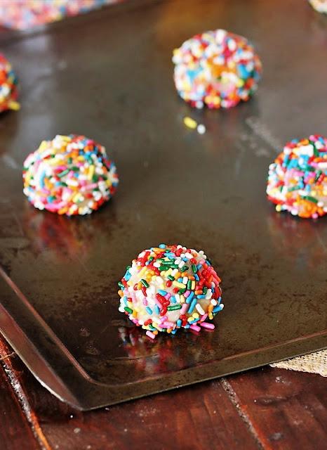 Sprinkle Sugar Cookies Dough Ball Coated in Sprinkles Image