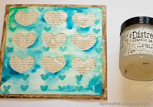 Layers of ink - Mixed Media Heart Windows Tutorial by Anna-Karin Evaldsson. Apply Crackle Paint.