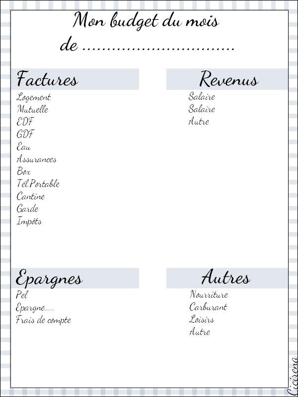 Exceptionnel DIY : Un budget mensuel à imprimer   Blog beauté Cicirena MA95