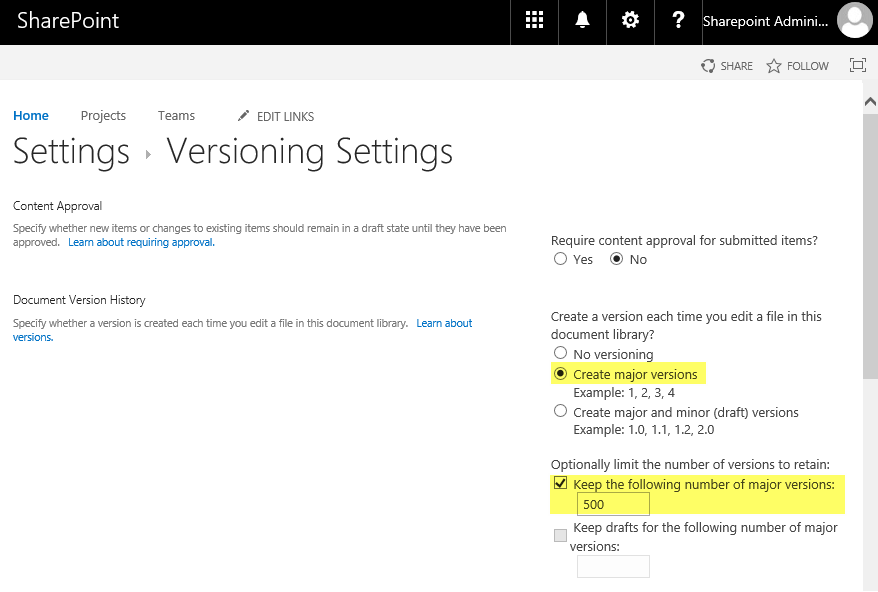 sharepoint online powershell to enable versioning in document library