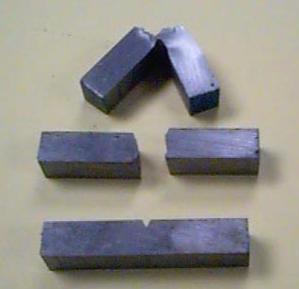 Exemplos de corpos de prova charpy