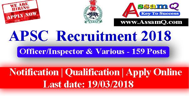Assam Public Serive Commission Recruitment 2018 Jobs