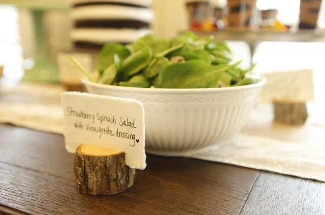 Rustic tree branch place card holders for buffet tables snack tables.