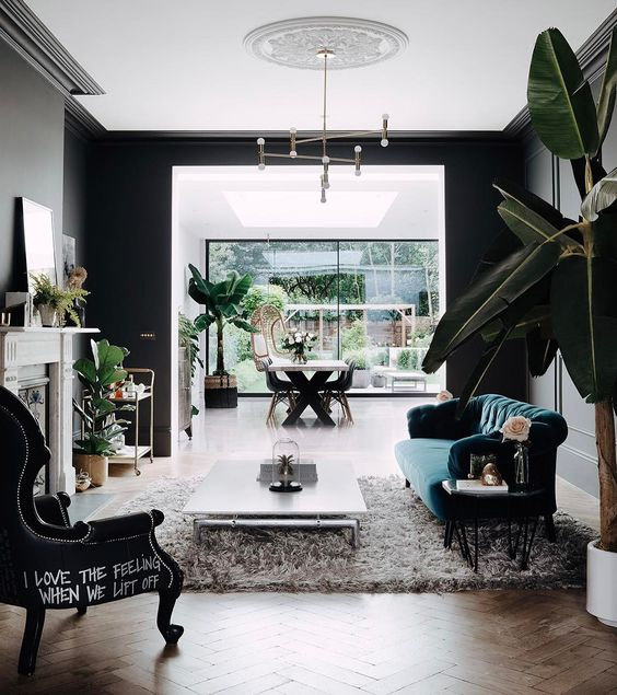 black living room eclectic interior style