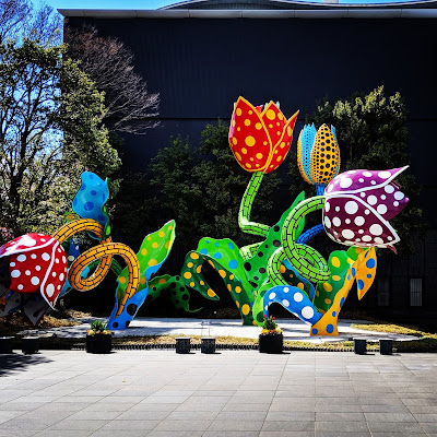 Japan in April: Flower sculptures outside Matsumoto City Museum