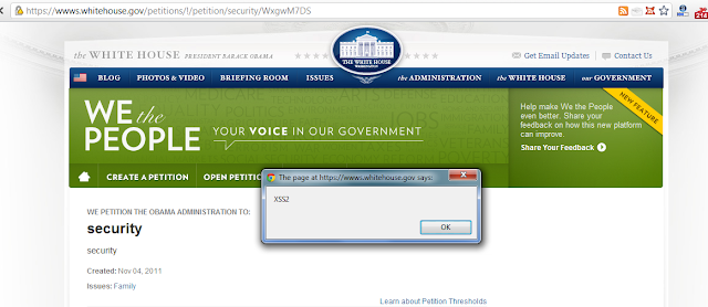 Persistent XSS Vulnerability in White House Website