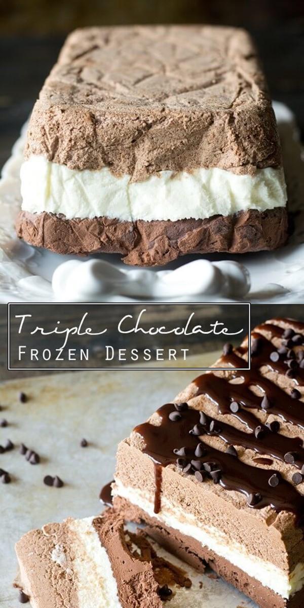 Triple Chocolate Frozen Dessert #Dessertrecipes