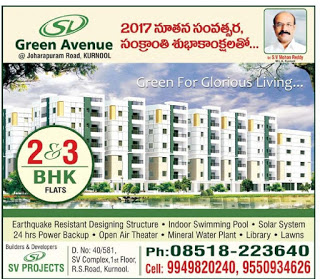 GREEN AVENUE KURNOOL  9949820240