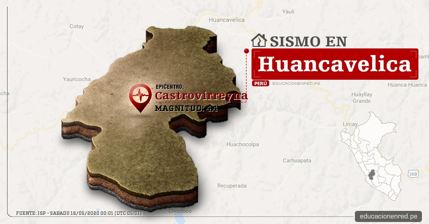 Temblor en Huancavelica de Magnitud 4.4 (Hoy Sábado 16 Mayo 2020) Sismo - Epicentro - Castrovirreyna - IGP - www.igp.gob.pe