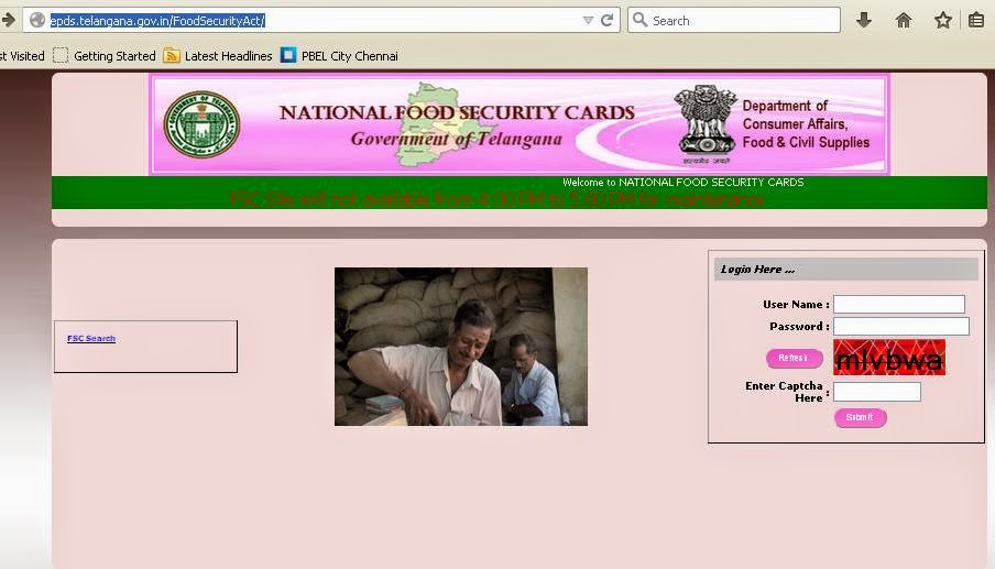 Telangana Food Security Card Statu Check Online