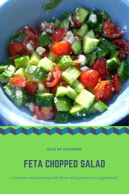 Feta Chopped Salad:  A series of wonderful vegetarian dishes pair perfectly together for a Fall/Winter Picnic, indoors or out! - Slice of Southern