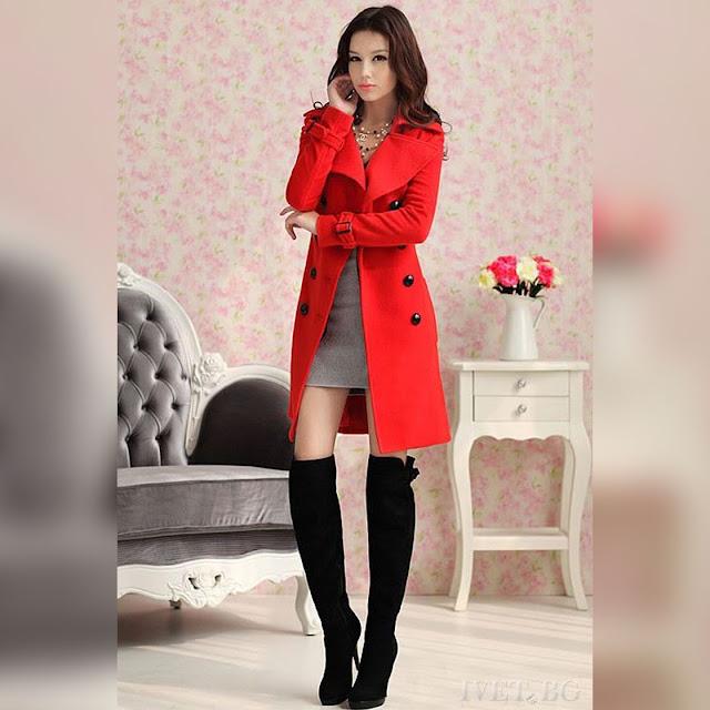 Γυναικείο κόκκινο παλτό SONINA RED