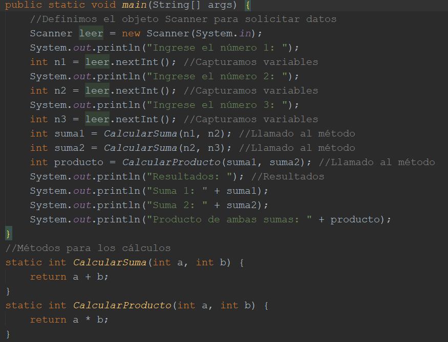 Calcular dos sumas y su producto en Java