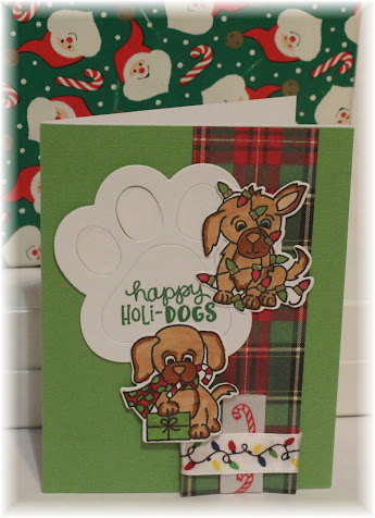 Happy holi-dogs by Sunshine HoneyBee features Christmas Puppies and Pawprint by Newton's Nook Designs; #newtonsnook, #cardmaking, #christmas