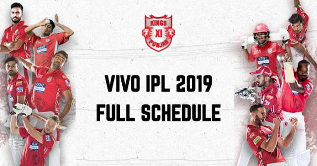 VIVO IPL 2019 Kings XI Punjab (KXIP) Full Schedule