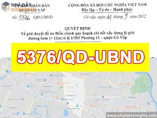 Quyết định số 5376/QĐ-UBND quy hoạch lộ giới đường hẻm tỉ lệ 1/500 phường 11 quận Gò Vấp