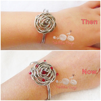 Adjustable wire wrapped Rose Cuff around wrist