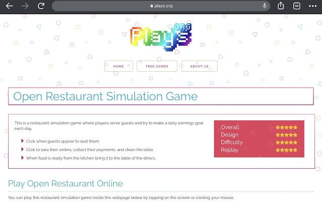 open restaurant plays.org free online games