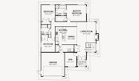 plano de casa de 14 x 18 metros (46 x 60 pies) aproximados de 1 piso con medidas en pies cuadrados
