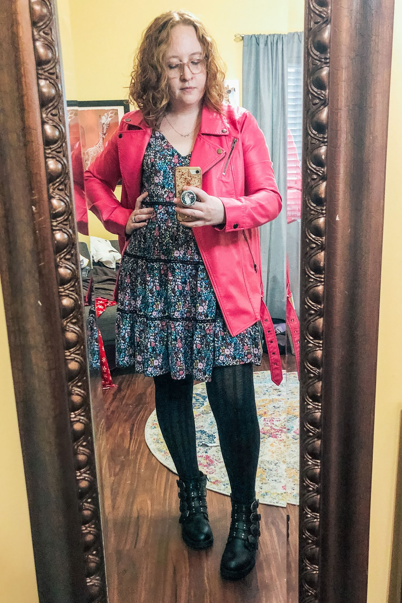purple-floral-print-babydoll-dress-tights-moto-boots-pink-leather-jacket