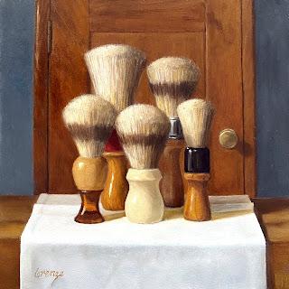 still life, vintage barber brushes, shaving brushes