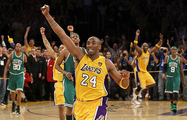 Kobe Bryant celebrates after the Los Angeles Lakers defeated the Boston Celtics, 83-79, in Game 7 of the NBA Finals at STAPLES Center...on June 17, 2010.