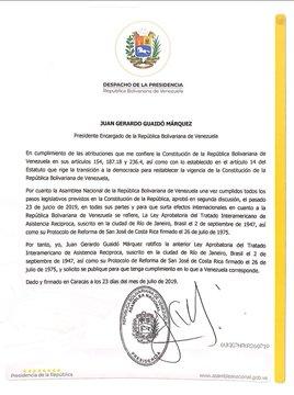 OEA recibe comunicación oficial del reingreso de Venezuela al Tiar