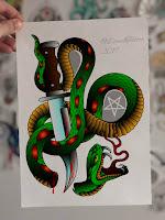змея вокруг ножа тату флеш
