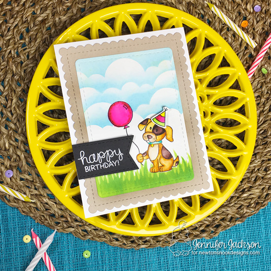 Dog Birthday card by Jennifer Jackson using the STAMPtember Exclusive: Let's Pawty Stamp Set by Newton's Nook Designs #newtonsnook #handmade