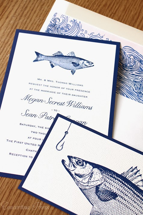 Concertina press stationery and invitations striped for Fishing wedding invitations