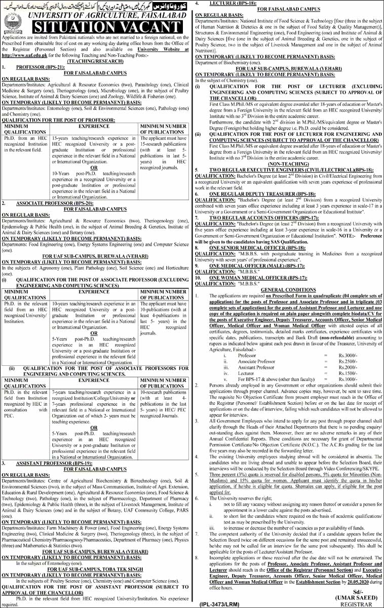 75 Jobs in University of Agriculture Faisalabad