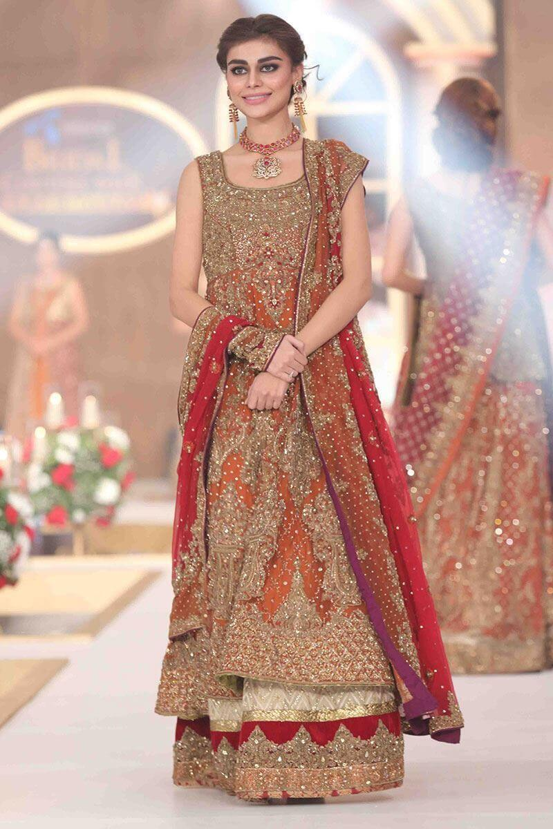Rust Net & Velvet Bridal Gown by Aisha Imran