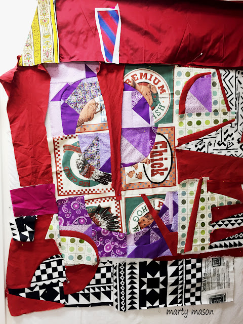 improv patchwork  quilt in the making with silk and other remnants - marty mason