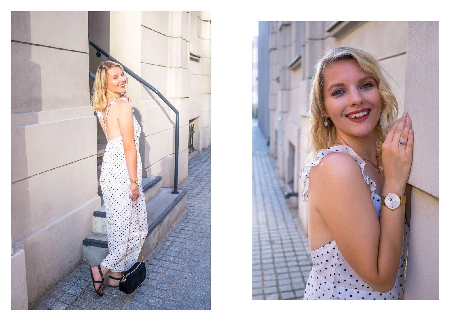 7 modny kombinezon sukienka w groszki jak nosić w grochy sukienki idealne ubranie na wesele w co ubrać się na wesele w lato na poprawiny na-kd opinie modne stylizacje na lato sukienki dla blondynki