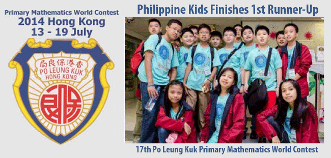 Philippine Kids Finishes 1st Runner-Up in 17th Po Leung Kuk Primary Mathematics World Contest